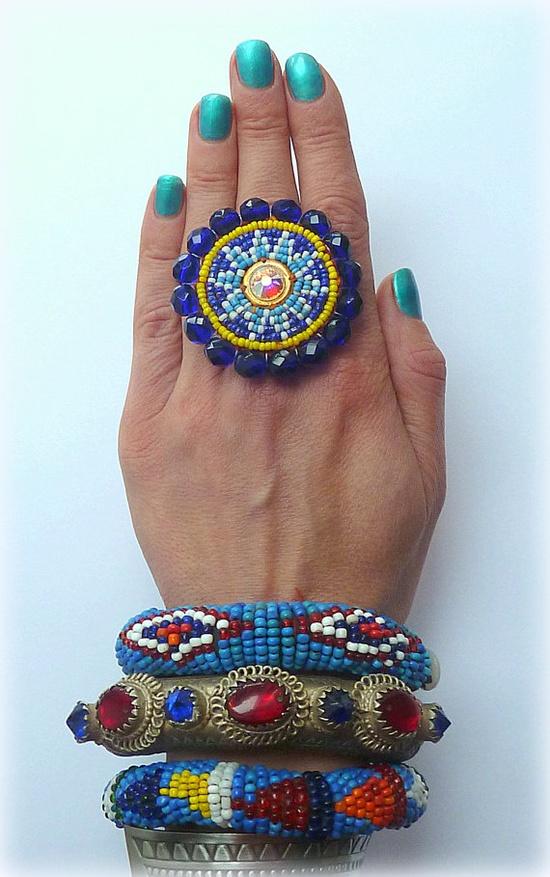 Tribal Jewelry beaded ring