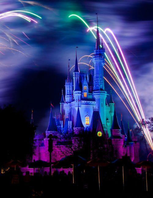 Cinderella Castle and night with fireworks // Magic Kingdom at Walt Disney World