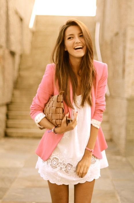 pink blazer, cute white dress - perfect summer outfit