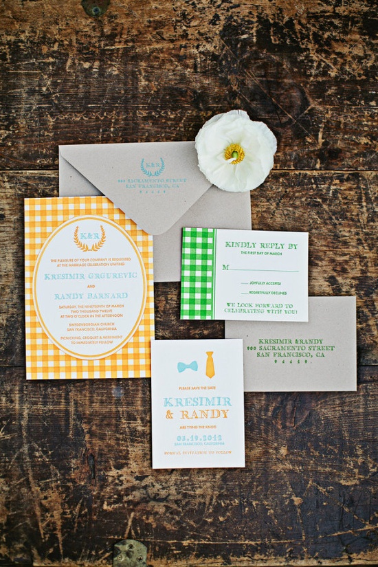 invites to a pretty picnic wedding  Photography by megperotti.com, invitations by theaerialistpress...