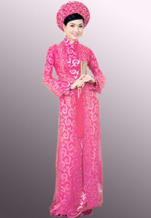 Pink Ao Dai Wedding Dress