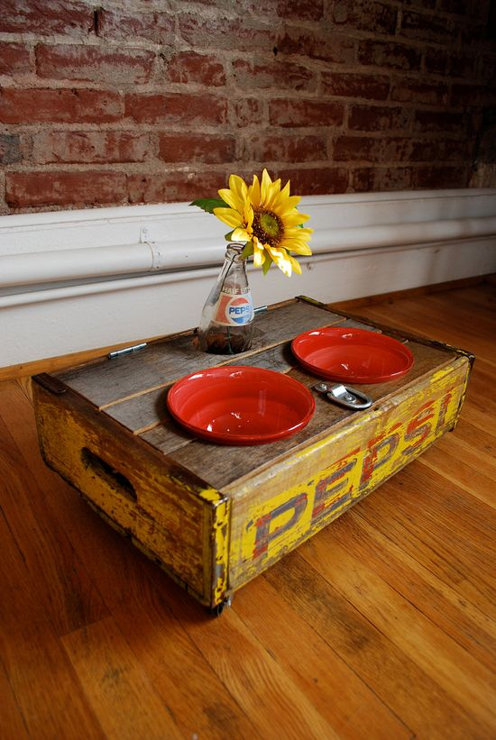 Vintage Pepsi Crate Pet Feeder - LOVE this