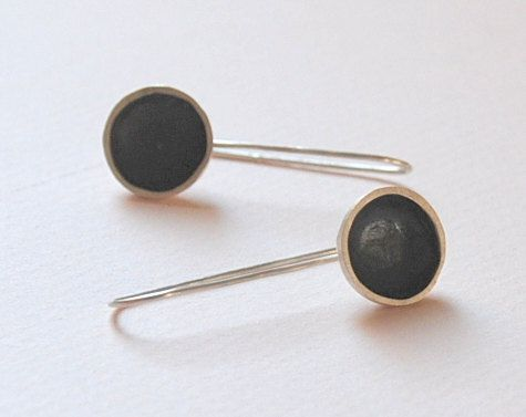 Sterling Silver Oxsidized Round Earrings Long by SevimsDesign, $35.00