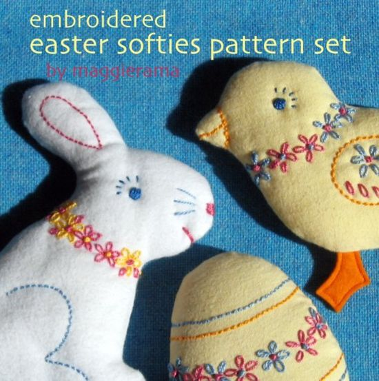 Embroidered Easter Softies patterns set. $9.00, via Etsy.