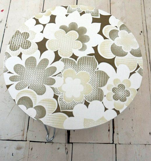 Upcycled round coffee side table with original 70's vintage wallpaper ~ Emily Rose Vintage