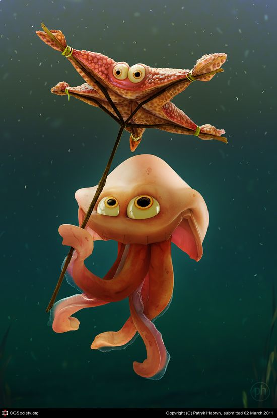 CGTalk - Starfish umbrella, RIGGING DEMO link, Patryk Habryn (3D)
