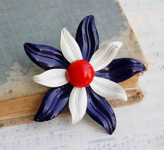Vintage Red White and Blue Enamel Flower Brooch by redtruckdesigns