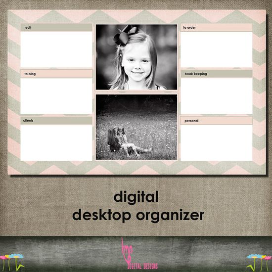 INSTANT DOWNLOAD Digital Desktop Organizer with picture slots template for photographers OR small business etsy seller