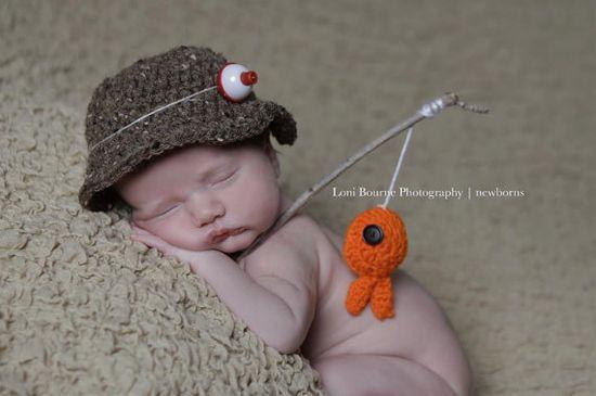 baby boy hatFisherman setnewborn photography photo by Beansknots,