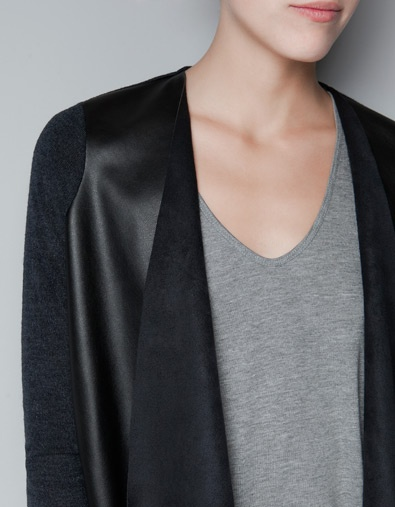 Leather cardigan // Zara