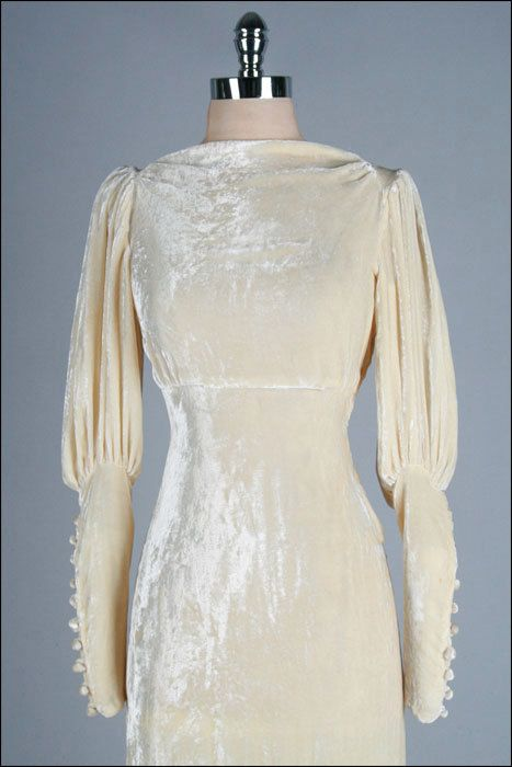 1930s Champagne Wedding Dress:  Ivory Silk Velvet, Empire Waist, Bias Cut.