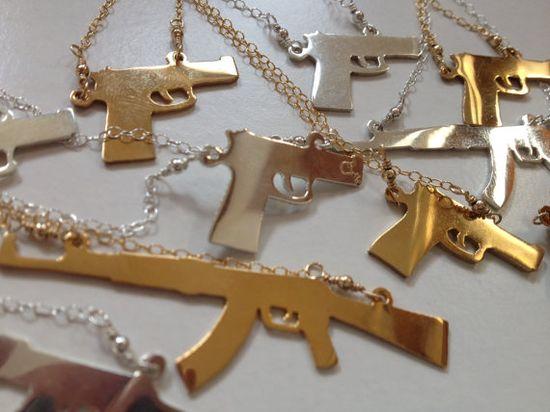SIlver Handgun Necklace by AddieMia on Etsy, $75.00
