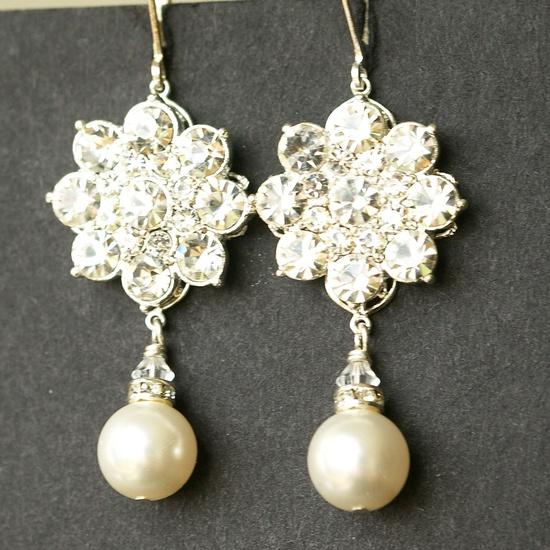Crystal & Pearl Flower Bridal Earrings, Vintage Style Rhinestone Flower Wedding Earrings, Old Hollywood Style Bridal Jewelry, SABINE. $58.00, via Etsy.