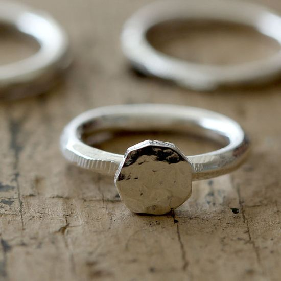 distressed silver ring.