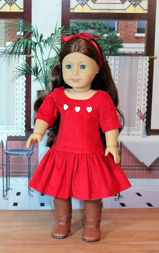 Red Corduroy Dress for American Girl Doll by BabiesArtUs on Etsy, $35.00