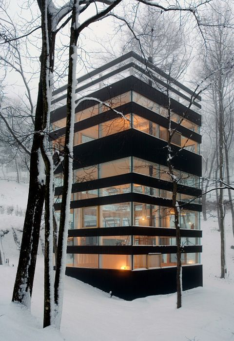 box house in the woods.