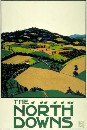 Edward McKnight Kauffer, 1915 - The North Downs  #vintage #travel #poster #UK