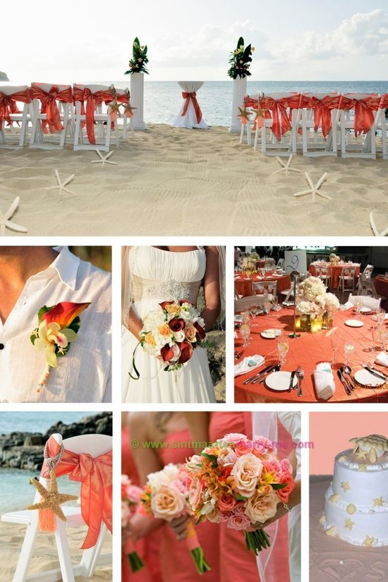 Coral beach wedding