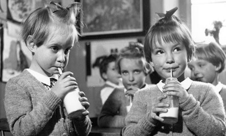"School kids in Britain were given milk daily as families struggled to provide a good diet with calcium during hard times. Margaret Thatcher in her role as Education Secretary, suspended free school milk, earning her the moniker of ""Thatcher the Milk Snatcher"""