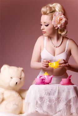 Pink girl with teddy