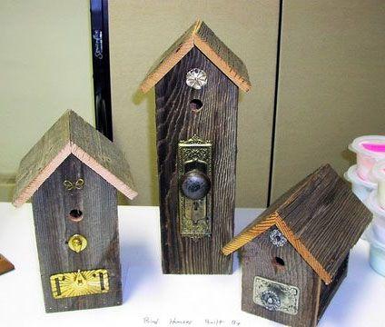 Antique hardware birdhouses