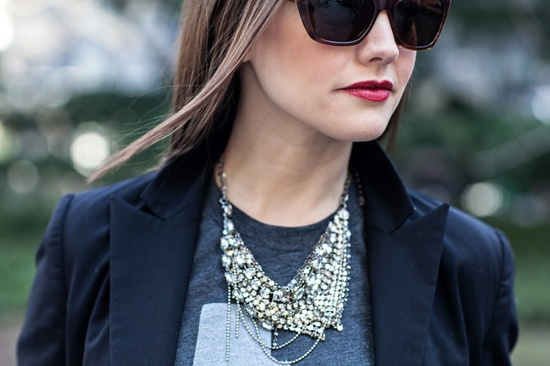 statement necklace + t-shirt