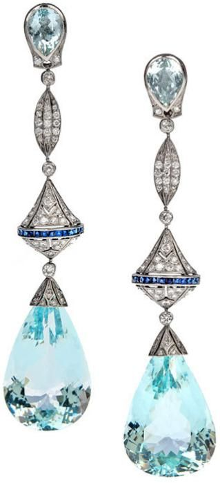 Aquamarine, diamond, sapphire, and platinum long dangle earrings -50 carats of aquamarines with 2.50 carats of diamonds. They're made in classic Art Deco style