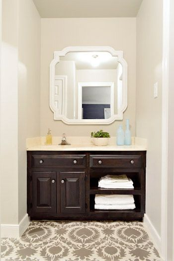 Vanity makeover from Young House Love.  Like this idea for a bedroom with a vanity area.