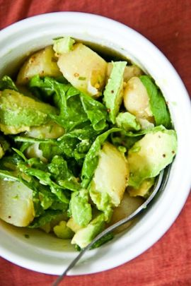 lemon, mustard, spinach and avocado potato salad