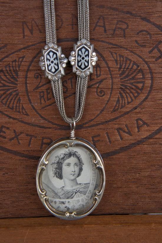 Antique Assemblage Necklace, Victorian Slider Chain and Gemstones