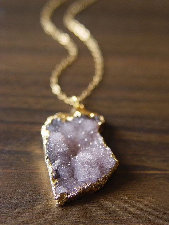 lilac amethyst drusy necklace