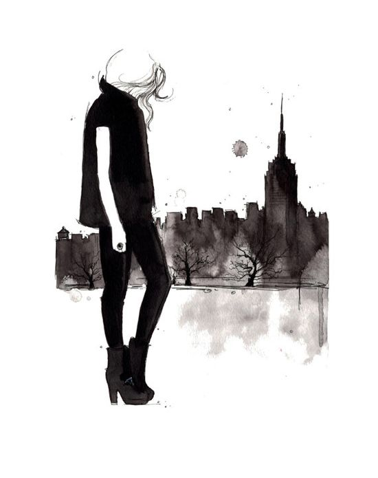 Empire state of mind, watercolor and pen illustration by Jessica Durrant