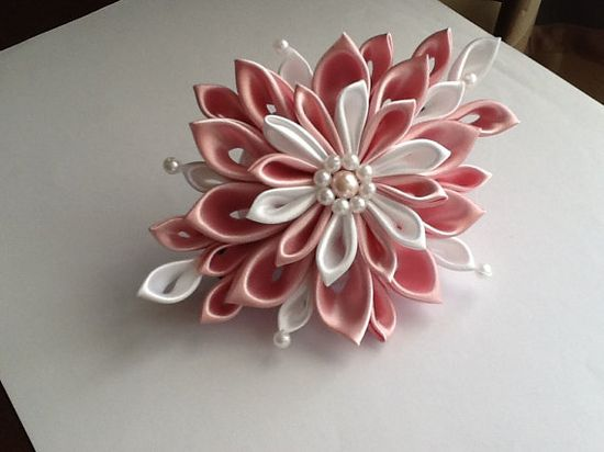 Pale Pink & White Kanzashi Flower HAIR BARRETTE by LihiniCreations