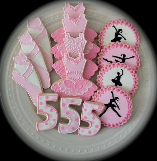 Pink Ballerina Themed Decorated Cookies for your by peapodscookies