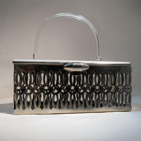 Vintage 1950s Lucite Wedding Purse #vintage #purse #pamart #1950s #punchedmetal #handbag #lucite @Etsy
