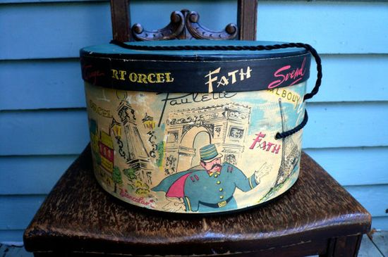 VIntage 1950s PARIS Hatbox