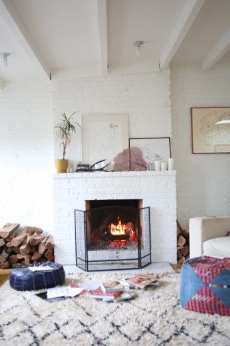 beni ourain by the fireplace