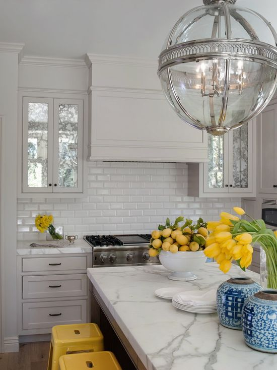Love the light fixture!  greige: interior design ideas and inspiration for the transitional home