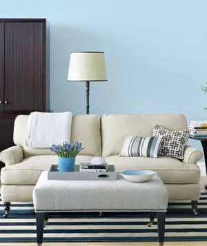 Cool blues, like the one shown here, can help a small room look larger.