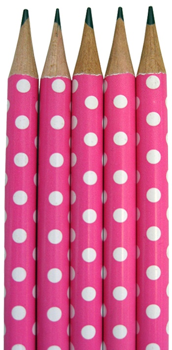 Hot Pink Polka Dot Pencils
