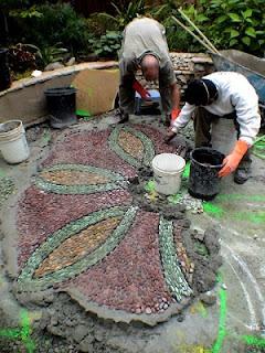 Jeffrey Bales, stone mosaic pathways, via Stone art blog