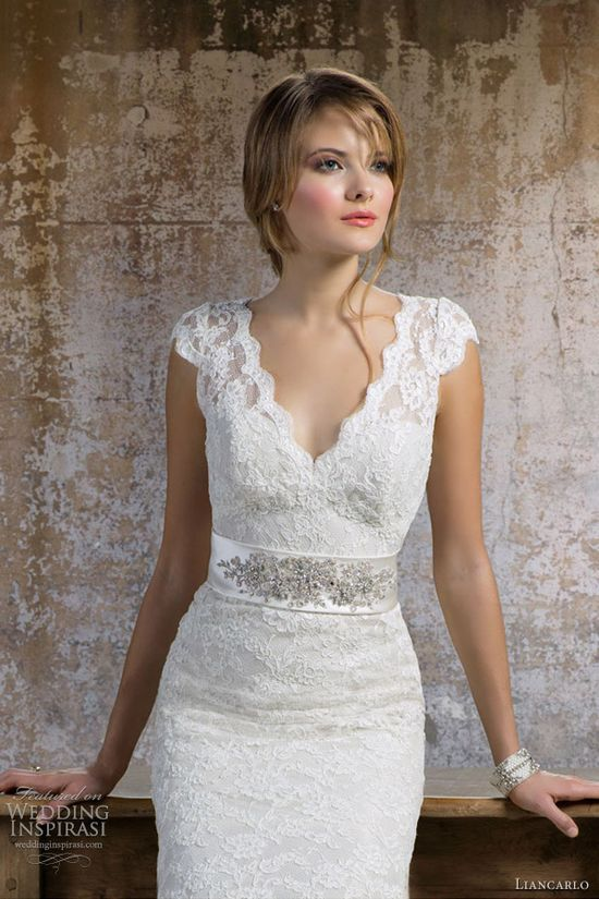 Lace v-neck wedding dress    liancarlo bridal fall 2012 wedding dress style 5802
