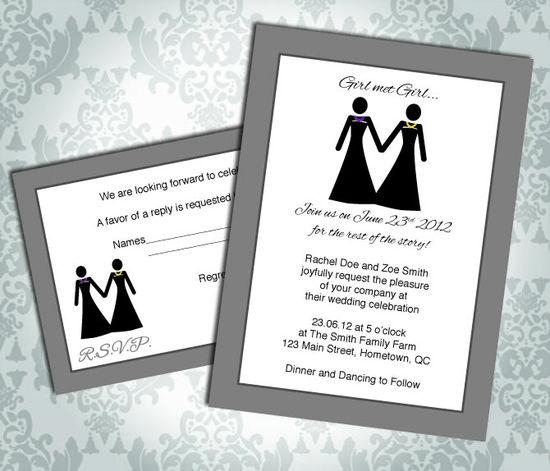 Lesbian Wedding Invitation / Commitment Ceremony - Girl