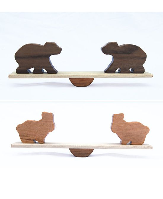 Animal Seesaw 2 pairs of animals, Wood Toy Balancing Game, Elephant, Giraffe, Bear, Lion, Hippo, Bunny.