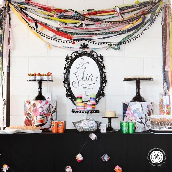 DESSERT TABLE at a Teen Fashion Clothing Shop Party with Awesome Ideas via Kara's Party Ideas