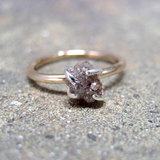 Rough Diamond Solitaire Ring