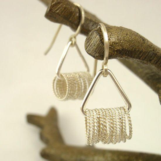 Sterling Silver Flirty Triangle Earrings by unkamengifts on Etsy, $ 35.00