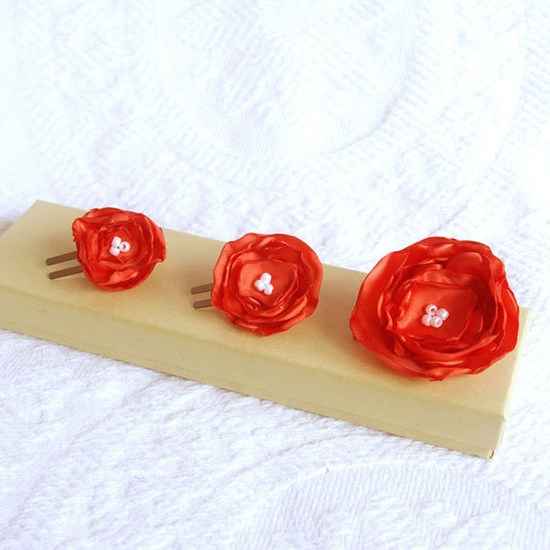 Set of 3 Tangerine Hair Flowers for Wedding by BoutiqueVintage72, $18.00
