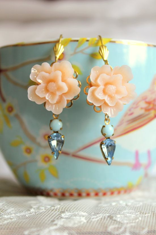 Peach aqua and blue  Earrings shabby chic vintage style by iloniti, $26.00