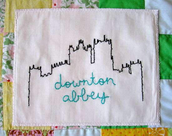 Downton Abbey Highclere Castle hand embroidered illustration.